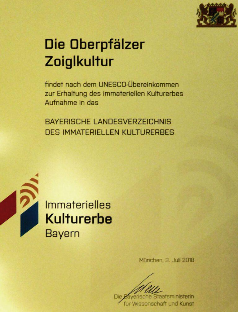Urkunde zur Oberpfälzer Zoiglkultur des Bayerischen Staatsministeriums.